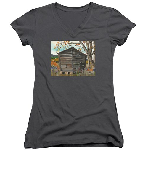 Women's V-Neck T-Shirt (Junior Cut) featuring the painting Autumn - Shack - Woodshed by Jan Dappen