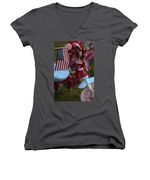 Flag Bike Women's V-Neck T-Shirt (Junior Cut) by Patrice Zinck