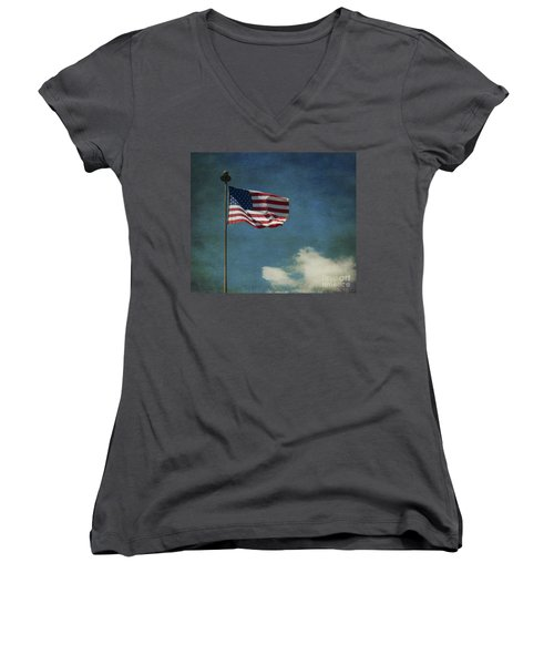 Flag - Still Standing Proud - Luther Fine Art Women's V-Neck (Athletic Fit)