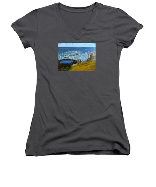 Flagstaff Point  Women's V-Neck T-Shirt (Junior Cut) by Pamela  Meredith