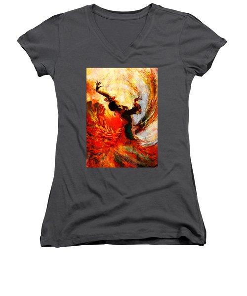 Flamenco Dancer 021 Women's V-Neck T-Shirt (Junior Cut)
