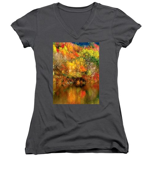 Flaming Autumn Abstract Women's V-Neck