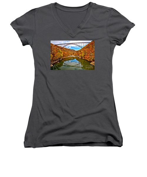 Flaming Fall Foliage At New River Gorge Women's V-Neck (Athletic Fit)