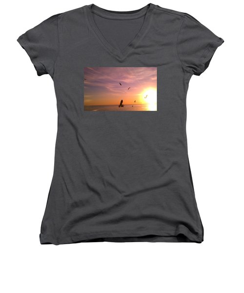 Women's V-Neck T-Shirt (Junior Cut) featuring the photograph Flight Into The Light by Chris Tarpening