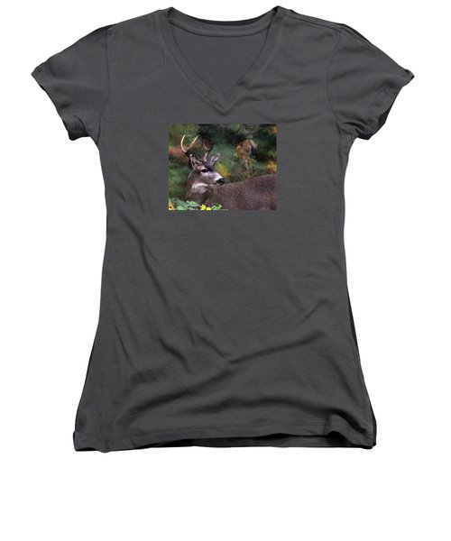 Women's V-Neck T-Shirt (Junior Cut) featuring the photograph Flirt by I'ina Van Lawick