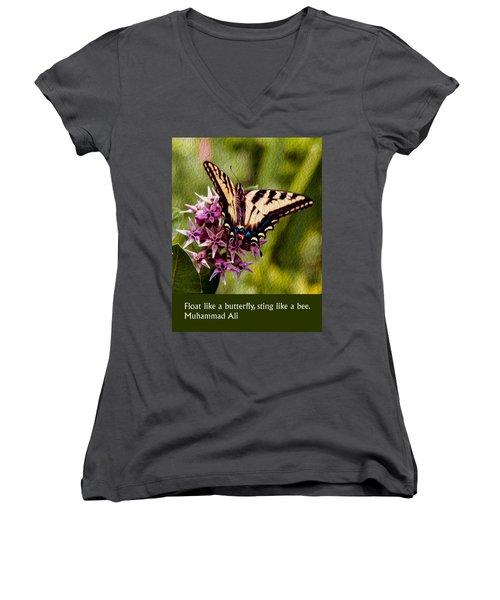 Float Like A Butterfly Women's V-Neck
