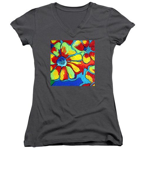 Women's V-Neck T-Shirt (Junior Cut) featuring the painting Floating Flowers by Alison Caltrider