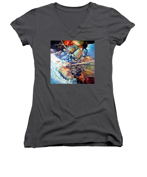Women's V-Neck T-Shirt (Junior Cut) featuring the painting Flood Plain by Rae Andrews