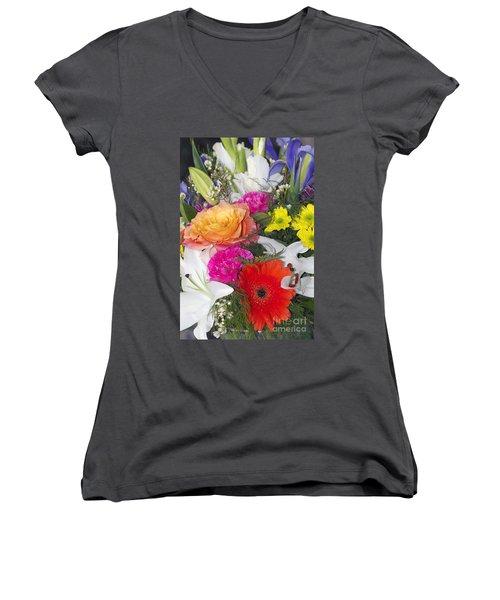 Floral Bouquet Women's V-Neck (Athletic Fit)