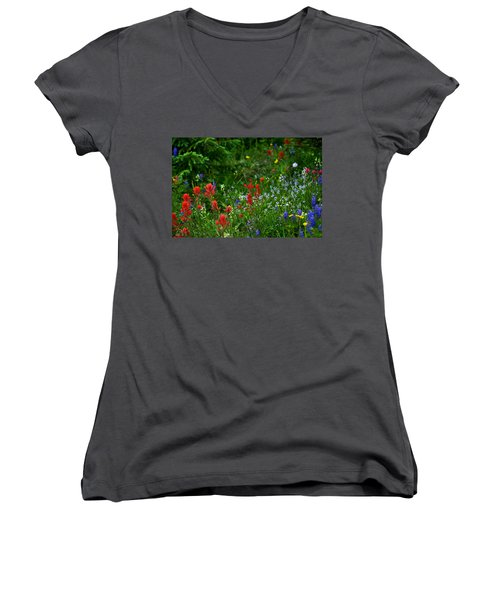 Floral Explosion Women's V-Neck T-Shirt (Junior Cut) by Jeremy Rhoades