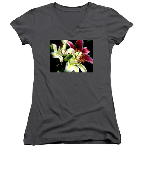 Women's V-Neck T-Shirt (Junior Cut) featuring the photograph Florals In Contrast by Ira Shander