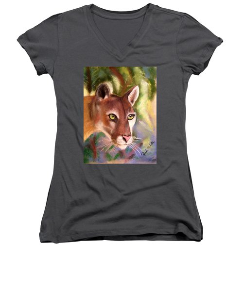 Florida Panther Women's V-Neck T-Shirt (Junior Cut) by Renee Michelle Wenker