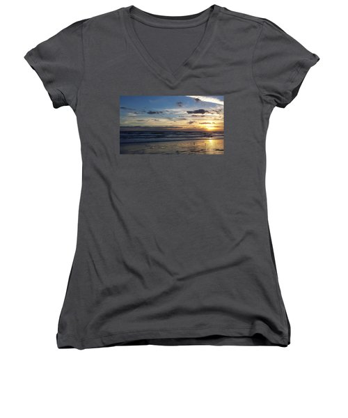 Women's V-Neck T-Shirt (Junior Cut) featuring the photograph Florida Sunrise by Ally  White
