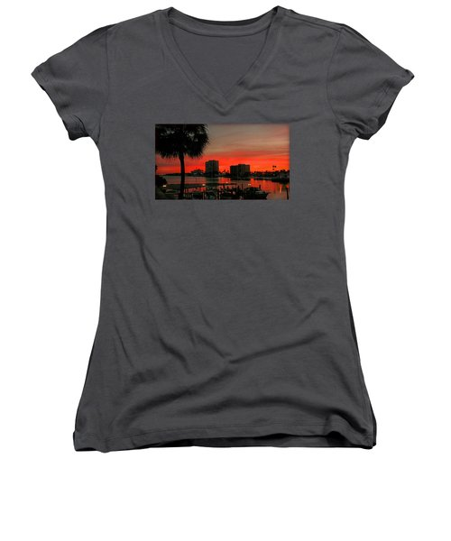 Florida Sunset Women's V-Neck T-Shirt (Junior Cut) by Hanny Heim