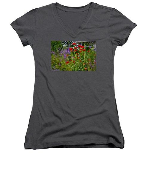 Flower Garden Women's V-Neck T-Shirt (Junior Cut) by Johanna Bruwer