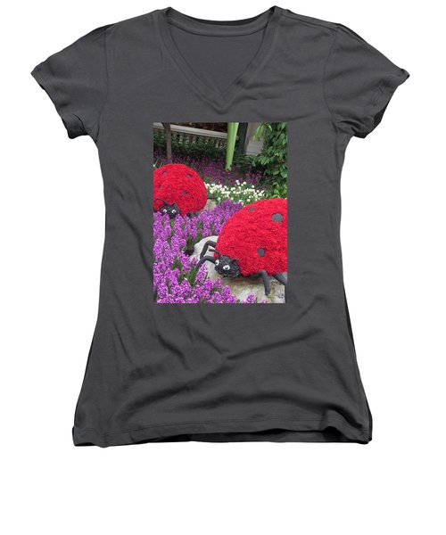 Women's V-Neck T-Shirt (Junior Cut) featuring the photograph Flower Garden Ladybug Purple White I by Navin Joshi