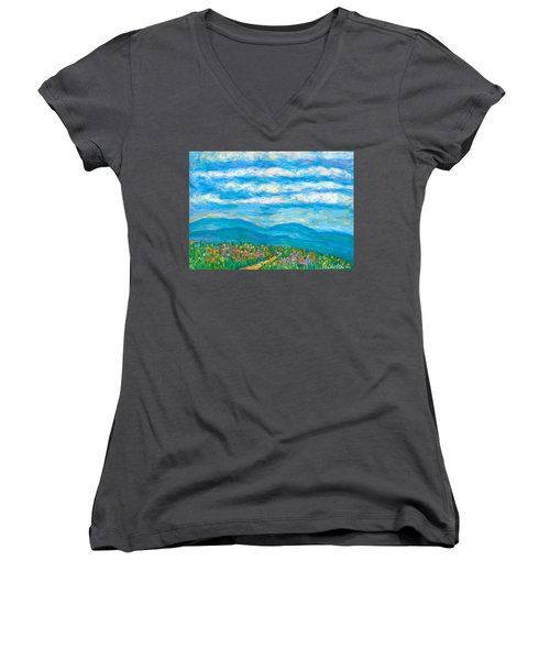 Flower Path To The Blue Ridge Women's V-Neck T-Shirt (Junior Cut) by Kendall Kessler