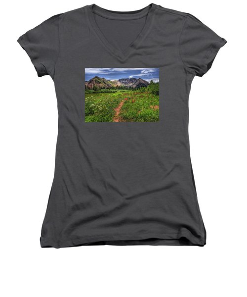 Women's V-Neck T-Shirt (Junior Cut) featuring the photograph Flower Walk by Priscilla Burgers
