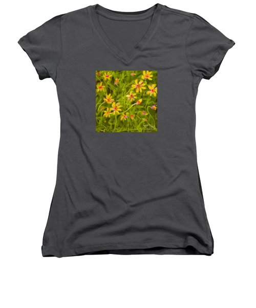 Women's V-Neck T-Shirt (Junior Cut) featuring the painting Flowerfield by Go Van Kampen