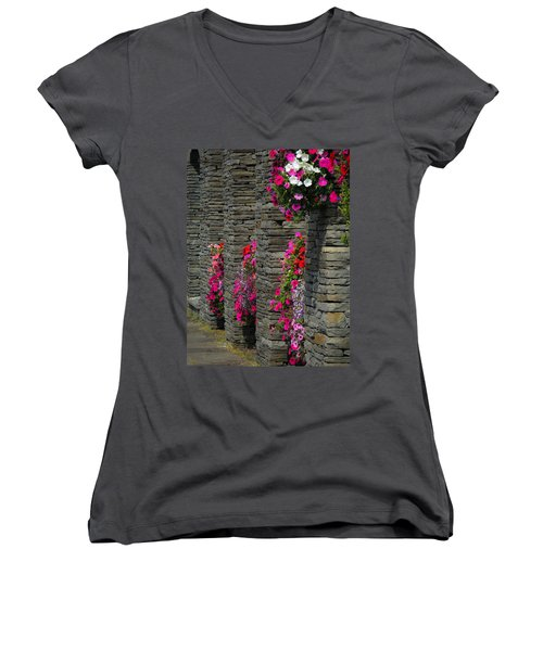 Flowers At Liscannor Rock Shop Women's V-Neck
