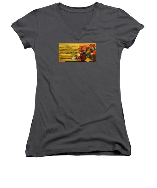 Flowers At The Side Of The House Women's V-Neck T-Shirt