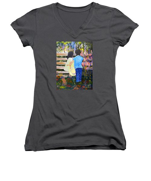 Flowers For Her Women's V-Neck T-Shirt