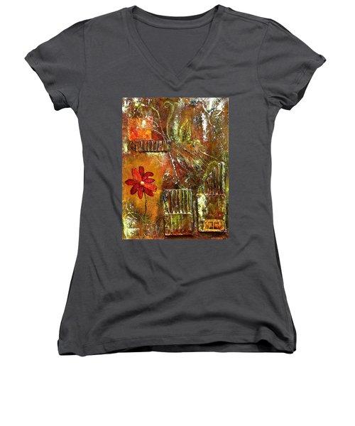 Flowers Grow Anywhere Women's V-Neck T-Shirt (Junior Cut) by Bellesouth Studio
