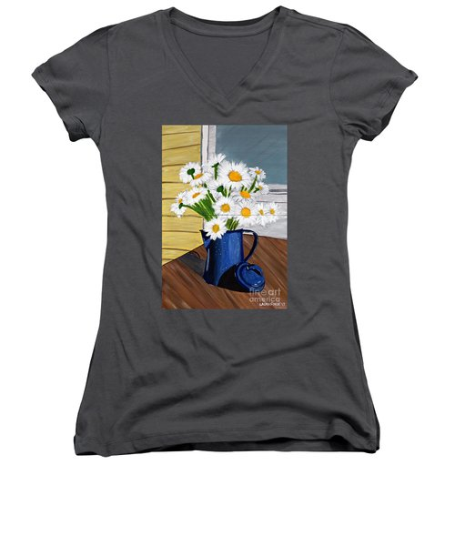 Women's V-Neck T-Shirt (Junior Cut) featuring the painting Flowers In A Teapot by Laura Forde
