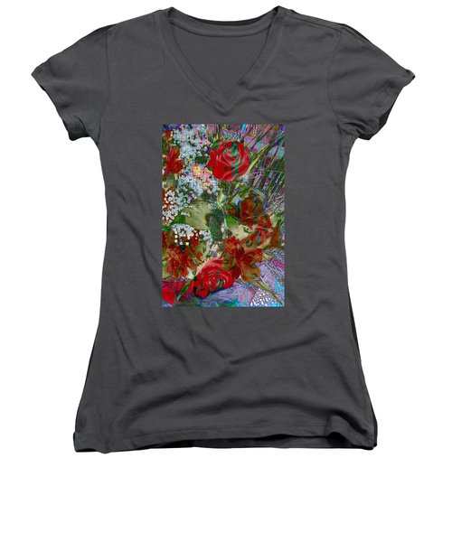 Flowers In Bloom Women's V-Neck T-Shirt (Junior Cut) by Liane Wright
