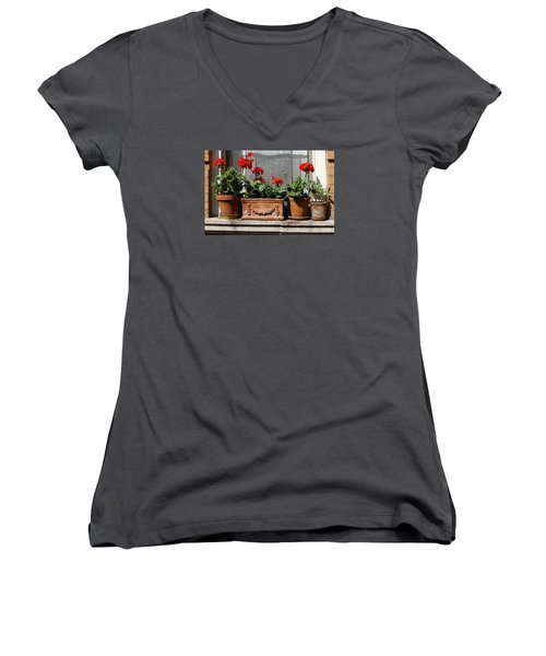 Women's V-Neck T-Shirt (Junior Cut) featuring the photograph Flowers Of New York by Ira Shander