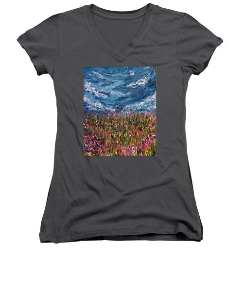 Women's V-Neck T-Shirt (Junior Cut) featuring the painting Flowers Of The Field by Meaghan Troup