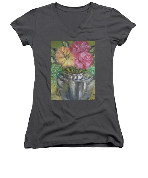 Women's V-Neck T-Shirt (Junior Cut) featuring the painting Flowers by Teresa White
