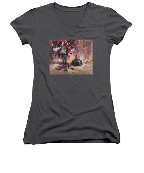 Women's V-Neck T-Shirt (Junior Cut) featuring the painting Flowers With Lantern by Nancy Griswold