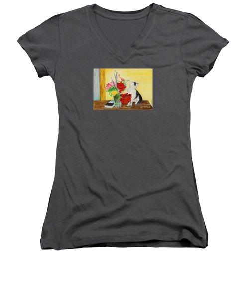Fluff Smells The Lavender- Painting Women's V-Neck T-Shirt (Junior Cut) by Veronica Rickard