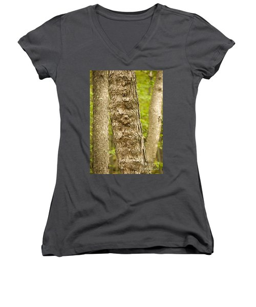 Women's V-Neck T-Shirt (Junior Cut) featuring the photograph Fluted Tree by Carol Lynn Coronios
