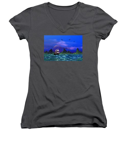 Women's V-Neck T-Shirt (Junior Cut) featuring the photograph Flying Dutchman by Mark Blauhoefer