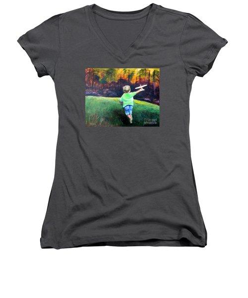 Flying High Women's V-Neck T-Shirt (Junior Cut) by Patricia Piffath