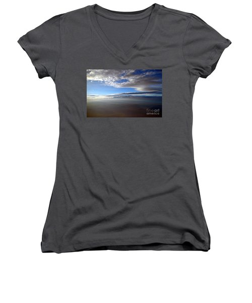 Flying Over Southern California Women's V-Neck (Athletic Fit)