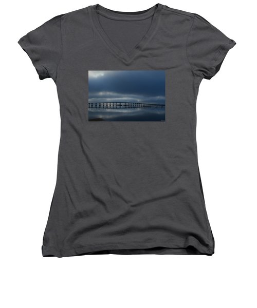 Women's V-Neck T-Shirt (Junior Cut) featuring the photograph Foggy Mirrored Navarre Bridge At Sunrise by Jeff at JSJ Photography