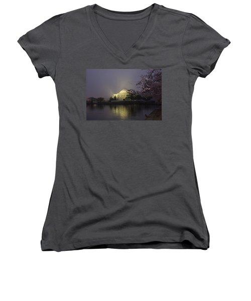 Foggy Morning At The Jefferson Memorial 1 Women's V-Neck T-Shirt