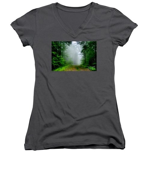 Women's V-Neck T-Shirt (Junior Cut) featuring the photograph Foggy Morning by Debra Fedchin