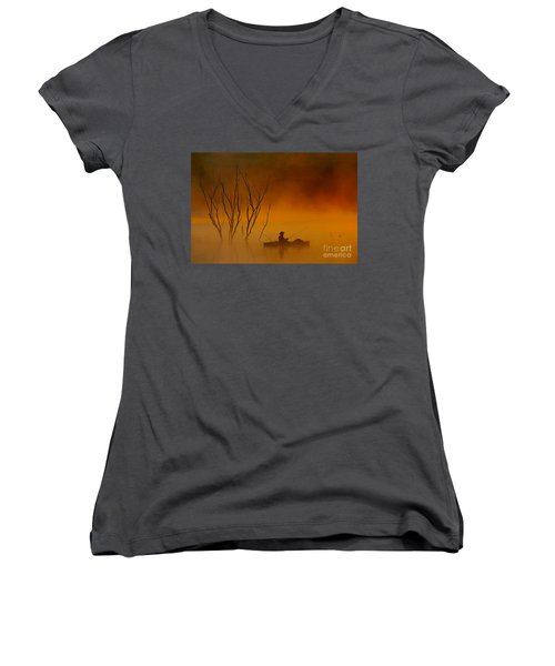 Foggy Morning Fisherman Women's V-Neck T-Shirt (Junior Cut) by Elizabeth Winter