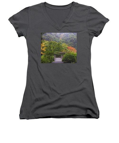 Foggy Morning In Japanese Garden Women's V-Neck T-Shirt