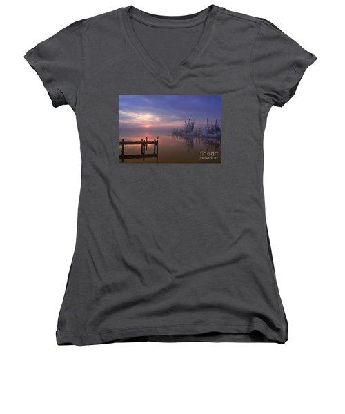 Foggy Sunset Over Swansboro Women's V-Neck T-Shirt (Junior Cut) by Benanne Stiens