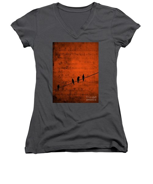 Follow The Music Women's V-Neck T-Shirt (Junior Cut) by Andrea Kollo