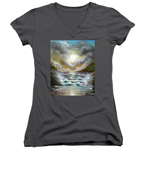Women's V-Neck T-Shirt (Junior Cut) featuring the painting Follow The Wind by Patrice Torrillo