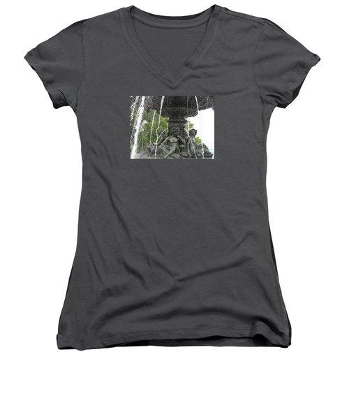 Fontaine De Tourny Women's V-Neck T-Shirt (Junior Cut) by Lingfai Leung