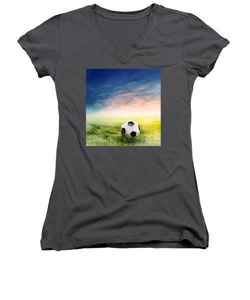 Football Soccer Ball On Green Grass Women's V-Neck T-Shirt