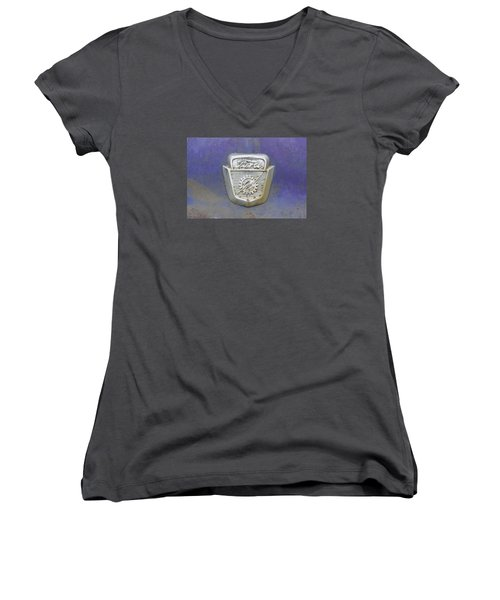 Ford Emblem Women's V-Neck T-Shirt (Junior Cut) by Laurie Perry