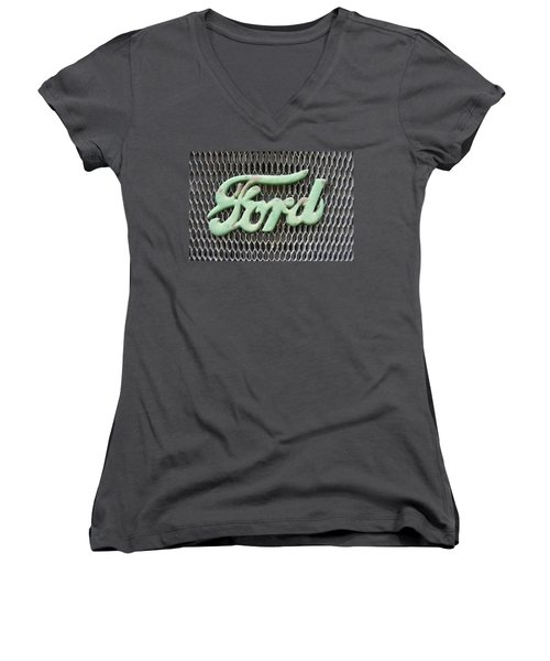 Ford Grille Women's V-Neck T-Shirt (Junior Cut) by Laurie Perry